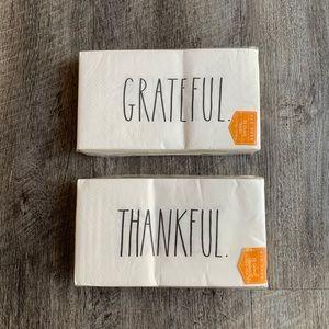 Rae Dunn Thankful & Grateful Napkins 13 x 15.75